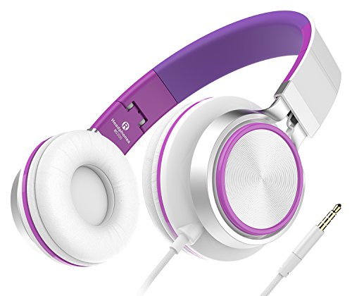 Kinder Kopfhörer, Honstek Stereo Headsets Starke Low Bass Kopfhörer Leichte tragbare verstellbare Wired Over Ear Ohrhörer für MP3 / 4 PC Tablets Handys (White/Purple)
