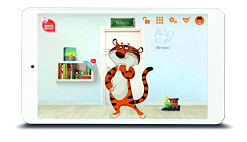 Odys TigerTab 20,3 cm (8 Zoll IPS Display) Tablet-PC für Kinder (Quad Core Prozessor, 1GB RAM, 16GB Flash HDD, Android 6.0) weiß inkl. Bumper/Schutzhülle und ausgewählte Kinderinhalte