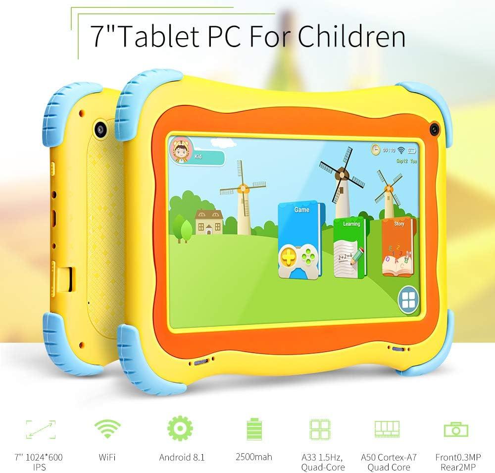 Yuntab Q91 tablet kids 7 Zoll Allwinner A33 Android 5.1 Quad-core1.5GHz Google Tablet PC HD Capacitive Multi-Touch-Bildschirm 8GB Dual Kamera 8Go Google Play Vorinstalliert,WLAN,3D Spiel unterstützt (Rose)
